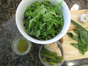 Sesame Chicken and Asparagus Lunch Salad, prep one