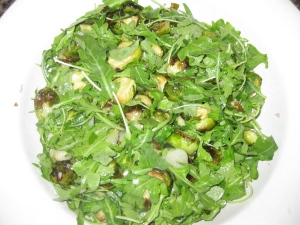 Roasted Brussels Sprouts and Arugula Salad