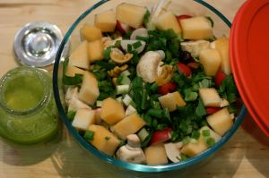 Salad with Chile Lime Nuts, Winter Melon, and Avocado Citronette