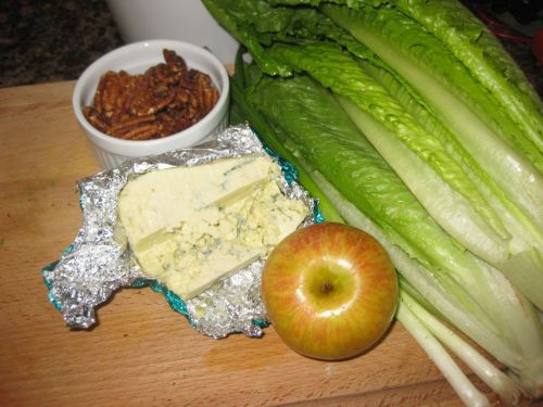 Ingredients for Salad with Blue Cheese, Apple, and Candied Pecans