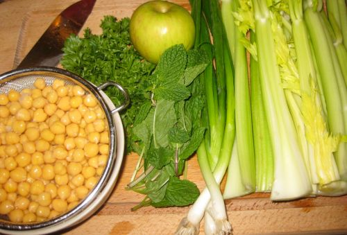 Salad with Celery, Garbanzo Beans, Mint, and Apple