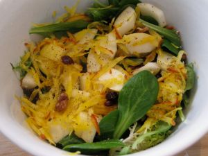Salad with Golden Beet, Pear, Cranberries, and Candied Pecans