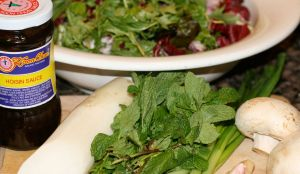 Recipe: Ingredients for Salad with Hoisin Vinaigrette, Mizuna, Daikon, and Mint