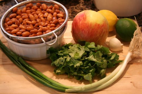 Ingredients for Cal-Mex with Apple and Pinto Beans