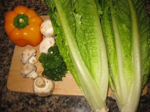 Ingredients for Recipe for Salad with Balsamic Vinaigrette, Orange Bell Pepper, Mushrooms, and Parsley