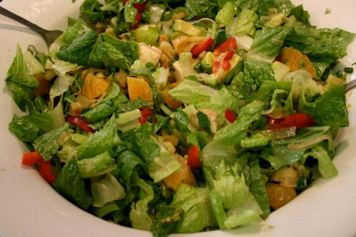 Recipe for Salad with Lime Citronette, Leftover Chicken, Mandarins, Mint, and Cilantro