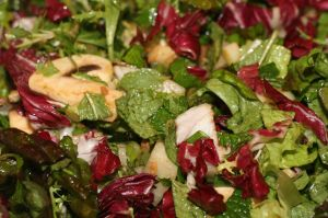 Recipe: Salad with Hoisin Vinaigrette, Mizuna, Daikon, and Mint, tossed