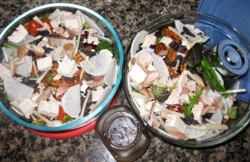 Twin Salads with Spicy Sesame Balsamic Vinaigrette, Candied Walnuts, Daikon, Young Ginger, and Opal Basil