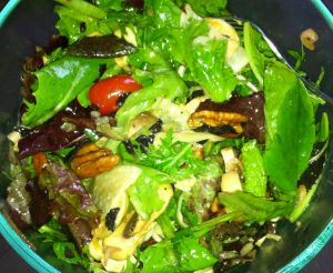 Recipe for Salad with Spicy Sesame Balsamic Vinaigrette, Candied Walnuts, Daikon, Young Ginger, and Opal Basil Ready to Eat