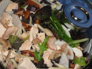 Recipe for Salad with Spicy Sesame Balsamic Vinaigrette, Candied Walnuts, Daikon, Young Ginger, and Opal Basil, To Go!