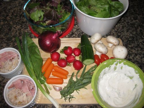 Ingredients for Recipe for Salad with Sour Cream Ranch Dressing, Deli Meat, Cucumber, Radishes, and Cherry Tomatoes