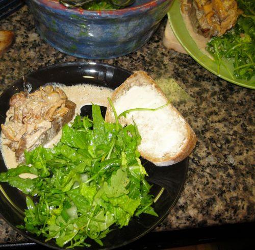 Plated Salad with Arugula, Romaine, Lemon Lime Citronette, Mint and Scallions