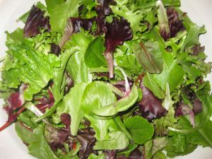 Greens for Salad with Blue Cheese, Candied Pecans, and the Kitchen Sink