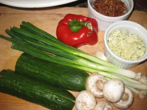 Ingredients for Recipe for Salad with Blue Cheese, Candied Pecans, and the Kitchen Sink