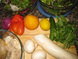 Ingredients for Recipe for Salad with Citrus, Chicken, Daikon, Cilantro, and Mint
