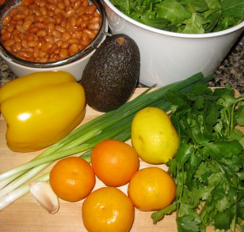 Ingredients for Recipe for Salad with Southwestern Avocado Citronette, Pinto Beans, Mandarins, and Yellow Bell Pepper