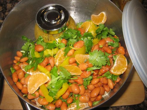 Recipe for Salad with Southwestern Avocado CItronette, Pinto Beans, Mandarins, and Yellow Bell Pepper