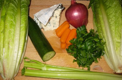Ingredients for Recipe for Creamy Blue Cheese Salad with Crunchy Vegetables