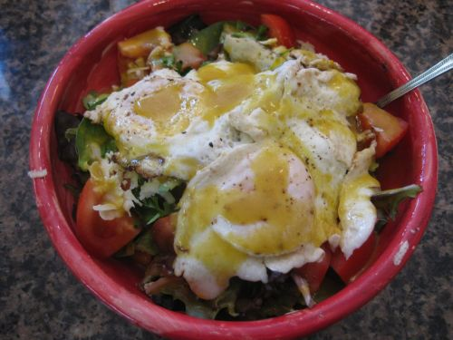 Salad with Honey Mustard Vinaigrette with Fried Egg