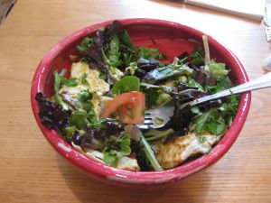 Salad with Honey Mustard Vinaigrette and Fried Egg, Ready to Eat